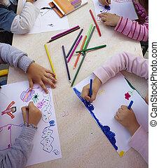 escola, educação, quadro, crianças, desenho