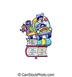 escola, estudantes, motorista ônibus, biblioteca, livros, pilha