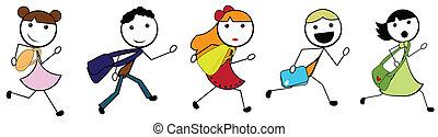 escola, ir, crianças, caricatura, vara