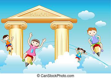 escola, ir, crianças
