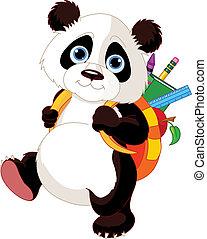 escola, ir, cute, panda
