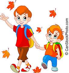 escola, ir, meninos, dois