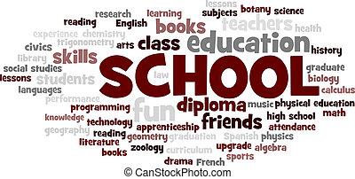 escola, palavra, árvore, vetorial, tag, bolha, nuvem