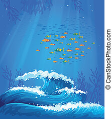 escola, peixe, ondas