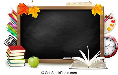 escola, school., quadro-negro, costas, supplies., vector.