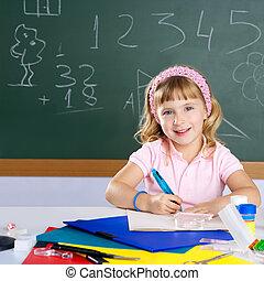 escola, sorrindo, estudante, menina, crianças, feliz