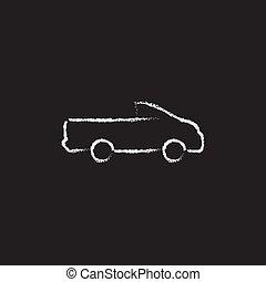 escolher caminhão, chalk., desenhado, ícone