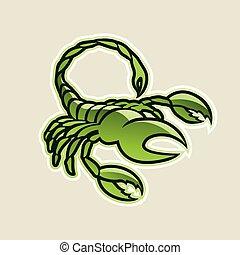 escorpião, ilustração, vetorial, verde, lustroso, ícone