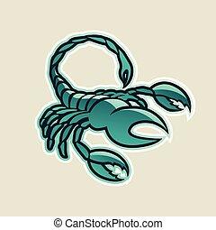 escorpião, ilustração, vetorial, verde, lustroso, ícone, persa