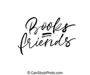 escova, livros, amigos, modernos, calligraphy., vetorial