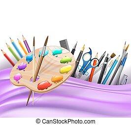 escovas, ondulado, paleta, arte, cor experiência, pens., linhas, vetorial, lápis