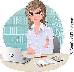 escritório, bonito, negócio mulher