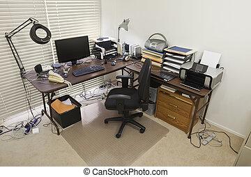 escritório, caótico, cabos, lar