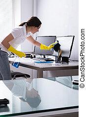 escritório, computador, mulher, limpeza