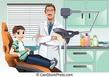 escritório dentista, criança
