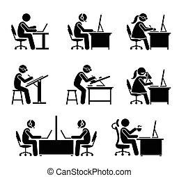escritório., empregado, computador, laptop, trabalhando