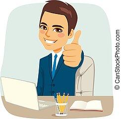escritório, feliz, homem negócios