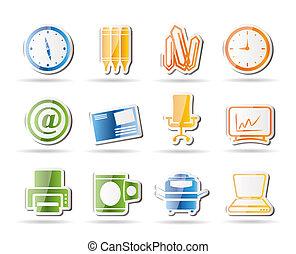 escritório, ferramentas, ícones, negócio