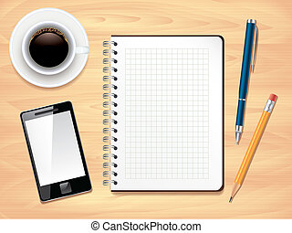 escritório, foto, topo, notepad, realístico, vetorial, escrivaninha, vista