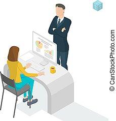 escritório., isometric, trabalhe pessoas