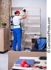 escritório, limpeza, macho, contratante, jovem