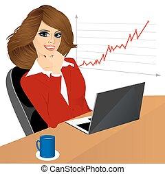 escritório, mulher, laptop, negócio