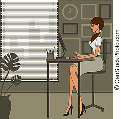 escritório, mulher