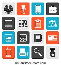 escritório, negócio, apartamento, ícones