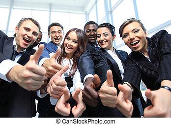 escritório, negócio, cima, multi-étnico, polegares, equipe, feliz