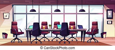 escritório negócio, modernos, vetorial, reunião, caricatura, sala