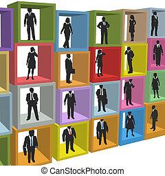 escritório negócio, pessoas, caixas, cubículo, recursos