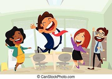 escritório negócio, pessoas, ilustração, caricatura, feliz