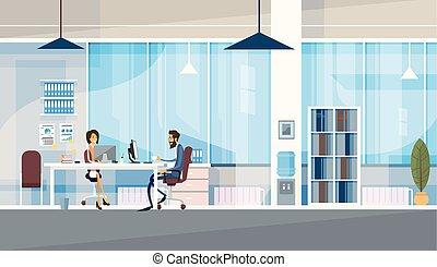 escritório, negócio, sentando, pessoas, co-working, junto, centro, trabalhando, criativo, escrivaninha