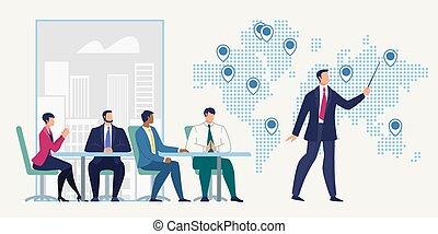 escritório, negócio, vetorial, companhia, reunião, conceito
