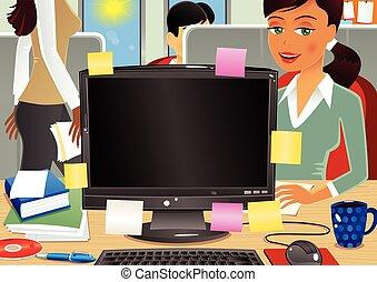 escritório, ocupado, cena