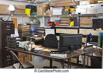 escritório ocupado, despacho, escrivaninha, armazém, recebendo