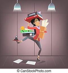 escritório ocupado, negócio, assistente pessoal, companhia, personagem, style., vetorial, femininas, multitasking, manager., caricatura, saliência, ou, secretária