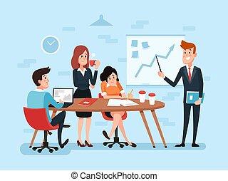 escritório ocupado, negócio, trabalho, ou, trabalho equipe, meeting., incorporado, caricatura