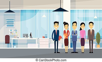 escritório, pessoas negócio, grupo, asiático, modernos