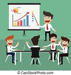 escritório., reunião, negócio