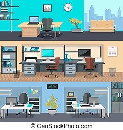 escritório, room., projeto interior, ilustração