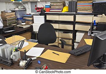 escritório, sujo, escrivaninha, sala, trabalho