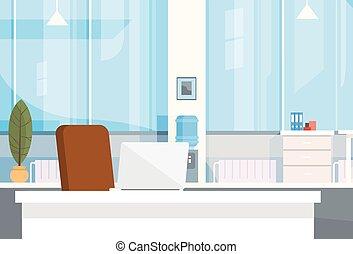 escritório, vazio, interior, cadeira, modernos, local trabalho, escrivaninha