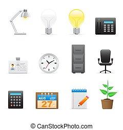 escritório, (workplace), ícones, jogo