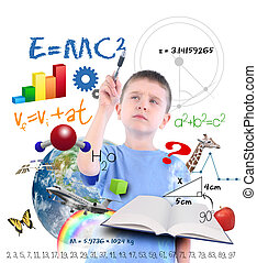 escrita, ciência, menino, escola, educação
