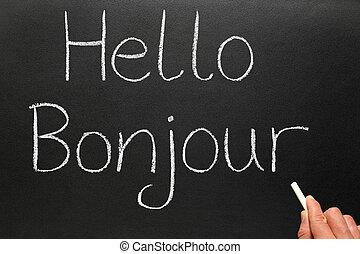 escrito, bonjour, blackboard., olá, francês
