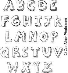 escrito, letras, mão