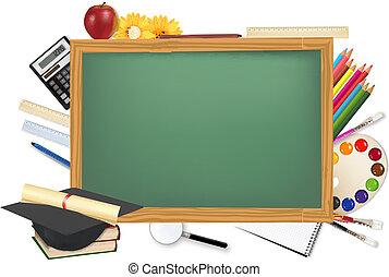 escrivaninha, materiais, escola, verde