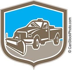 escudo, arado, caminhão, retro, neve