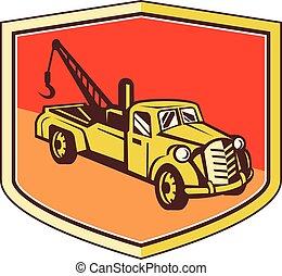 escudo, vindima, caminhão reboque, retro, wrecker